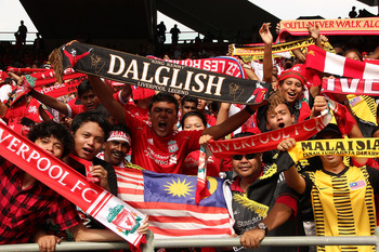 KUALA LUMPUR, MALAYSIA - JULY 16: Liverpool fans during the pre-season friendly match between Malaysia and Liverpool at the Bukit Jalil National Stadium on July 16, 2011 in Kuala Lumpur, Malaysia. (Photo by Stanley Chou/Getty Images)