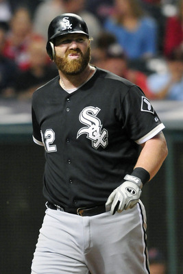 CLEVELAND, OH - SEPTEMBER 21: First baseman Adam Dunn #32 of the Chicago White Sox reacts to striking out during the fifth inning against the Cleveland Indians at Progressive Field on September 21, 2011 in Cleveland, Ohio. (Photo by Jason Miller/Getty Ima