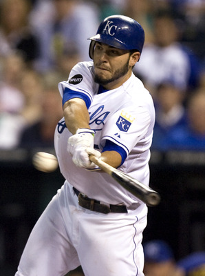 KANSAS CITY, MO - SEPTEMBER 20:   Eric Hosmer #35 of the Kansas City Royals hits a single in the third inning during a game against the Detroit Tigers at Kauffman Stadium on September 20, 2011 in Kansas City, Missouri. Hosmer went 5 for 5 in the the Royal