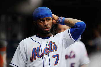 NEW YORK, NY - SEPTEMBER 25:  Jose Reyes #7 of the New York Mets looks on during the eighth inning during a game against the Philadelphia Phillies at Citi Field on September 25, 2011 in the Flushing neighborhood of the Queens borough of New York City.  (P