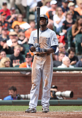 SAN FRANCISCO, CA - SEPTEMBER 14: Cameron Maybin #24 of the San Diego Padres up to bat against the San Francisco Giants at AT&T Park on September 14, 2011 in San Francisco, California.  (Photo by Tony Medina/Getty Images)