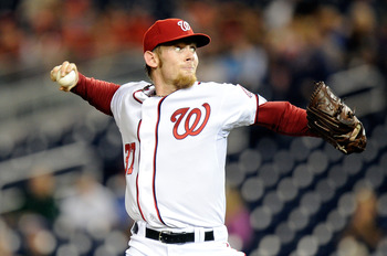 WASHINGTON, DC - SEPTEMBER 23:  Stephen Strasburg #37 of the Washington Nationals pitches against the Atlanta Braves at Nationals Park on September 23, 2011 in Washington, DC.  (Photo by Greg Fiume/Getty Images)