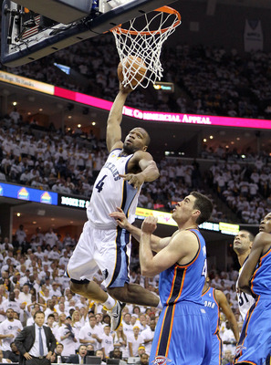 MEMPHIS, TN - MAY 07:  Sam Young #4 of the  Memphis Grizzlies shoots the ball while defended by  Nick Collison#4 of the Oklahoma City Thunder in Game Three of the Western Conference Semifinals in the 2011 NBA Playoffs at FedExForum on May 7, 2011 in Memph