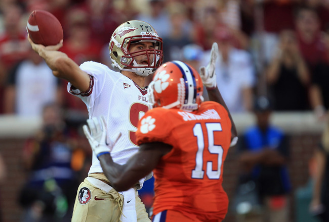 CLEMSON, SC - SEPTEMBER 24:  Clint Trickett #9 of the Florida State Seminoles drops back to pass against the Clemson Tigers during their game at Memorial Stadium on September 24, 2011 in Clemson, South Carolina.  (Photo by Streeter Lecka/Getty Images)
