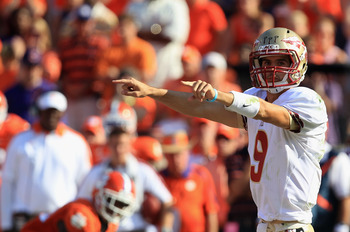 CLEMSON, SC - SEPTEMBER 24:  Clint Trickett #9 of the Florida State Seminoles calls out to his teammates against the Clemson Tigers during their game at Memorial Stadium on September 24, 2011 in Clemson, South Carolina.  (Photo by Streeter Lecka/Getty Ima