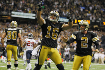 NEW ORLEANS, LA - SEPTEMBER 25:  Lance Moore #16 of the New Orleans Saints celebrates after scoring a touchdown against the Houston Texans during the game against the Houston Texans at the Louisiana Superdome on September 25, 2011 in New Orleans, Louisian