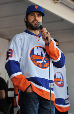 UNIONDALE, NY - JULY 27: Rick DiPietro #39 of the New York Islanders speaks during the fan rally at Nassau Coliseum on July 27, 2011 in Uniondale, New York. (Photo by Christopher Pasatieri/Getty Images)