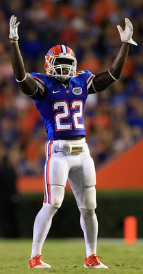 GAINESVILLE, FL - SEPTEMBER 10:  Matt Elam #22 of the Florida Gators asks for crowd noise during a game against the UAB Blazers at Ben Hill Griffin Stadium on September 10, 2011 in Gainesville, Florida.  (Photo by Sam Greenwood/Getty Images)