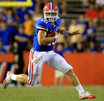 GAINESVILLE, FL - SEPTEMBER 10:  Jeff Driskel #16 of the Florida Gators runs for yardage during a game against the UAB Blazers at Ben Hill Griffin Stadium on September 10, 2011 in Gainesville, Florida.  (Photo by Sam Greenwood/Getty Images)