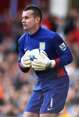 BIRMINGHAM, ENGLAND - SEPTEMBER 17:  Shay Given of Aston Villa in action during the Barclays Premier League match between Aston Villa and Newcastle United at Villa Park on September 17, 2011 in Birmingham, England.  (Photo by Ian Walton/Getty Images)