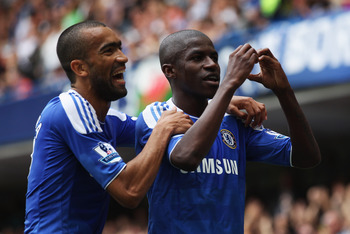 LONDON, ENGLAND - SEPTEMBER 24:  Ramires of Chelsea celebrates with Jose Bosingwa as he scores their second goal during the Barclays Premier League match between Chelsea and Swansea City at Stamford Bridge on September 24, 2011 in London, England.  (Photo