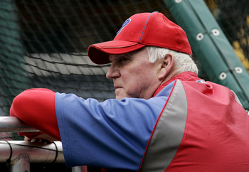 PHILADELPHIA, PA - SEPTEMBER 17: Manager Charlie Manuel #41 of the Philadelphia Phillies watches batting practice before the start of a game against the St. Louis Cardinals on September 17, 2011 at Citizens Bank Park in Philadelphia, Pennsylvania. (Photo
