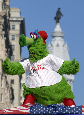 PHILADELPHIA, PA - OCTOBER 31: The Phillie Phanatic dances on a float in front of City Hall during the World Championship Parade October 31, 2008 in Philadelphia, Pennsylvania. The Phillies defeated the Tampa Bay Rays to win their first World Series in 28