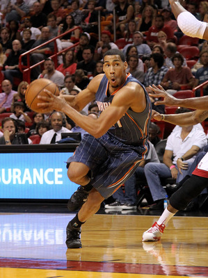 MIAMI, FL - APRIL 08: Garrett Temple #41 of the Charlotte Bobcats drives to the lane during a game against the Miami Heat at American Airlines Arena on April 8, 2011 in Miami, Florida. NOTE TO USER: User expressly acknowledges and agrees that, by download