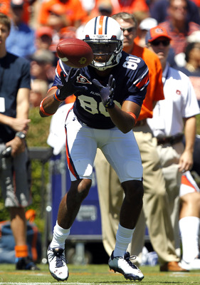 AUBURN, AL - SEPTEMBER 10:  Wide receiver Emory Blake #80 of the Auburn Tigers catches a pass against the Mississippi State Bulldogs in the first quarter on September 10, 2011 at Jordan-Hare Stadium in Auburn, Alabama. (Photo by Butch Dill/Getty Images)