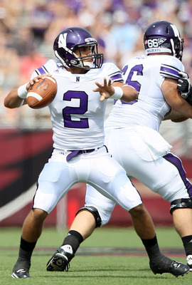 CHESTNUT HILL, MA - SEPTEMBER 03:  Kain Colter #2 of the Northwestern Wildcats looks to pass in the first half against the Boston College Eagles on September 3, 2011 at Alumni Stadium in Chestnut Hill, Massachusetts.  (Photo by Elsa/Getty Images)