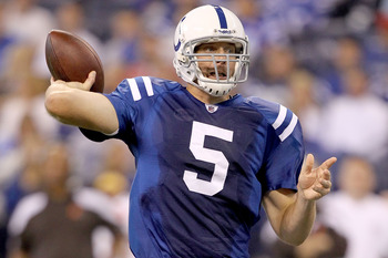 INDIANAPOLIS, IN - SEPTEMBER 18:  Kerry Collins #5 of the Indianapolis Colts throws against the Cleveland Browns at Lucas Oil Stadium on September 18, 2011 in Indianapolis, Indiana.  (Photo by Matthew Stockman/Getty Images)