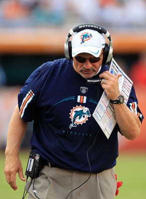 MIAMI GARDENS, FL - SEPTEMBER 18:  Head coach Tony Sparano of the Miami Dolphins walks along sidelines during a game against the Houston Texans  at Sun Life Stadium on September 18, 2011 in Miami Gardens, Florida.  (Photo by Sam Greenwood/Getty Images)