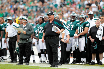 PHILADELPHIA, PA - SEPTEMBER 25:  Head coach Andy Reid of the Philadelphia Eagles looks on from the sideline against the New York Giants at Lincoln Financial Field on September 25, 2011 in Philadelphia, Pennsylvania. The Giants defeated the Eagles 29-16