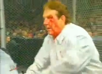 Bob Orton Jr. bleeding during that fateful match (Via WWE)