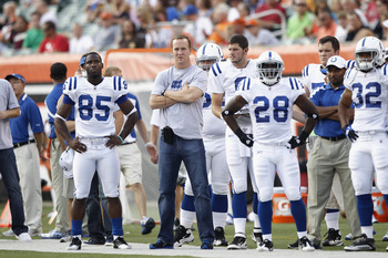 CINCINNATI, OH - SEPTEMBER 1: Indianapolis Colts injured quarterback Peyton Manning looks on from the sideline during the first half of an NFL preseason game against the Cincinnati Bengals at Paul Brown Stadium on September 1, 2011 in Cincinnati, Ohio. (P