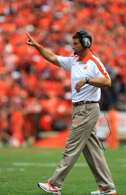 CLEMSON, SC - SEPTEMBER 17:  Head coach Dabo Swinney against the Auburn Tigers during their game at Memorial Stadium on September 17, 2011 in Clemson, South Carolina.  (Photo by Streeter Lecka/Getty Images)