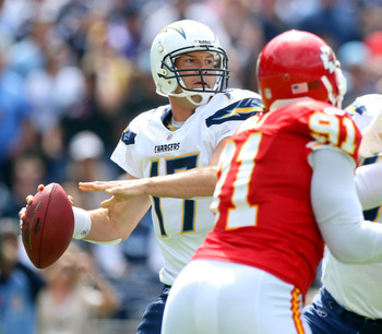 SAN DIEGO, CA - SEPTEMBER 25:  Quarterback Philip Rivers #17 of the San Diego Chargers throws the ball from the pocket against the Kansas City Chiefs during their NFL Game on September 25, 2011 at Qualcomm Stadium in San DIego, California. (Photo by Donal