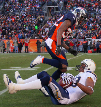 DENVER - JANUARY 02:  Wide receiver Malcom Floyd #80 of the San Diego Chargers hangs on to the ball for a first down reception after Perrish Cox #32 of the Denver Broncos was called for pass interference at INVESCO Field at Mile High on January 2, 2011 in