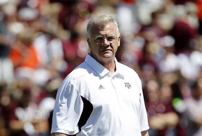 COLLEGE STATION, TX - SEPTEMBER 24:  Texas A&M Aggies head coach Mike Sherman during pre-game warmups before playing Oklahoma State at Kyle Field on September 24, 2011 in College Station, Texas.  (Photo by Bob Levey/Getty Images)