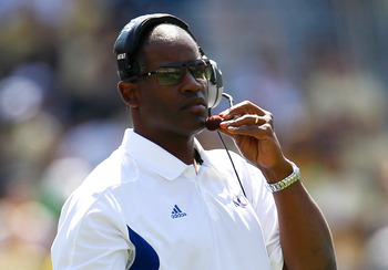 ATLANTA, GA - SEPTEMBER 17:  Head coach Turner Gill of the Kansas Jayhawks watches during play against the Georgia Tech Yellow Jackets at Bobby Dodd Stadium on September 17, 2011 in Atlanta, Georgia.  (Photo by Kevin C. Cox/Getty Images)