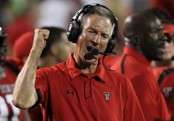 LUBBOCK, TX - SEPTEMBER 18:  Head coach Tommy Tuberville of the Texas Tech Red Raiders reacts on the sidelines during play against the Texas Longhorns at Jones AT&amp;T Stadium on September 18, 2010 in Lubbock, Texas.  (Photo by Ronald Martinez/Getty Images)