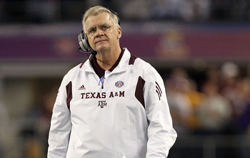 ARLINGTON, TX - JANUARY 07:  Head coach Mike Sherman of the Texas A&amp;M Aggies during the AT&amp;T Cotton Bowl at Cowboys Stadium on January 7, 2011 in Arlington, Texas.  (Photo by Ronald Martinez/Getty Images)