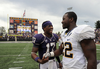 SEATTLE, WA - SEPTEMBER 24:  Keith Price #17 of the Washington Huskies shakes hands with Ryan Davis #22 of the Californis Golden Bears after a 31-23 Huskies win at Husky Stadium on September 24, 2011 in Seattle, Washington.  (Photo by Harry How/Getty Imag