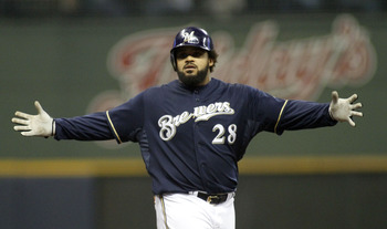 First baseman Prince Fielder led the Brewers with 38 home runs.