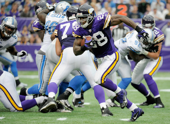 Running back Adrian Peterson has 296 yards and three touchdowns through three 2011 games.
