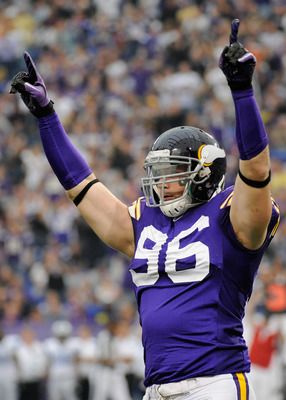 Defensive end Brian Robison (96) combined with defensive end Jared Allen for five sacks in Week 3.