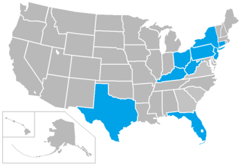 The blue states highlight the planned alignment of the Big East football for next year. Only in the world of the BCS would this conference alignment ever make any sense.