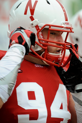 LINCOLN, NE - SEPTEMBER 17: Jared Crick #94 of the Nebraska Cornhuskers warms up before their game agains the Washington huskies at Memorial Stadium September 17, 2011 in Lincoln, Nebraska. Nebraska won 51-38.(Photo by Eric Francis/Getty Images)