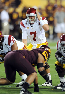 TEMPE, AZ - SEPTEMBER 24: Matt Barkley #7 of the University of Southern California Trojans calls a signal at the line of scrimmage against the Arizona State Sun Devils at Sun Devil Stadium on September 24, 2011 in Tempe, Arizona.  (Photo by Norm Hall/Gett