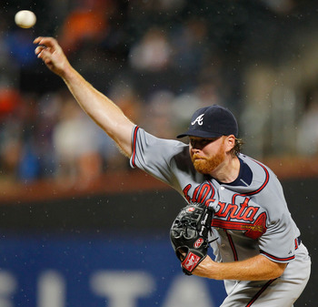 Tommy Hanson pitching in what ended up being his final start of 2011.