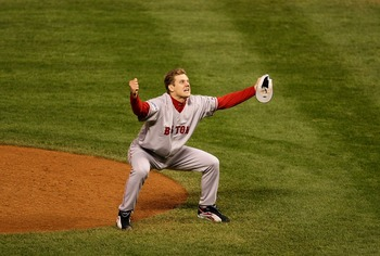Papelbon celebrates the final out of the 2007 World Series