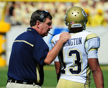 Tech's Paul Johnson's advises QB Tevin Washington