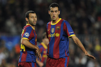 Mascherano and Busquets have been called on very often as makeshift center-backs
