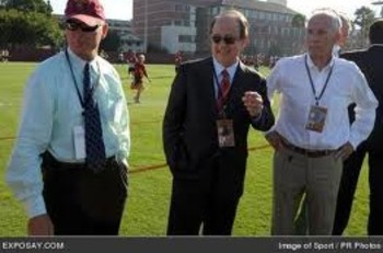 USC AD Pat Haden, President Max Nikias, and Senior Associate AD for Football J.K. McKay at USC football practice