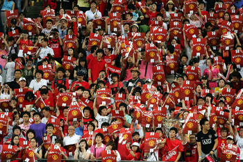 SEOUL, SOUTH KOREA - JULY 24:  Soccer fans attend during the pre-season friendly match between FC Seoul and Manchester United at Seoul worldcup stadium on July 24, 2009 in Seoul, South Korea.  (Photo by Chung Sung-Jun/Getty Images)