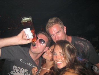 The former captain and his assistant partying