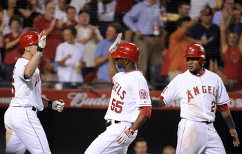 Bourjos, Moore and Aybar.  The only one missing is Mike Trout and that Angels have their 4x100 relay team