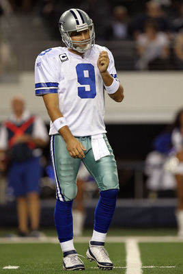 ARLINGTON, TX - SEPTEMBER 26:  Tony Romo #9 of the Dallas Cowboys at Cowboys Stadium on September 26, 2011 in Arlington, Texas.  (Photo by Ronald Martinez/Getty Images)