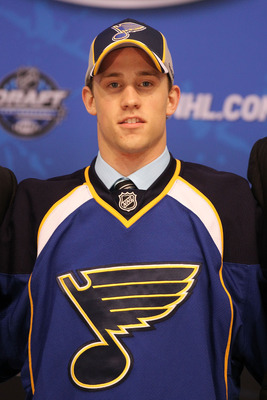 LOS ANGELES, CA - JUNE 25:  Jaden Schwartz, drafted 14th overall by the St. Louis Blues, poses on stage during the 2010 NHL Entry Draft at Staples Center on June 25, 2010 in Los Angeles, California.  (Photo by Bruce Bennett/Getty Images)