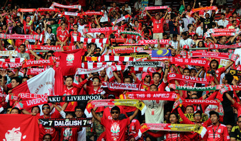 Liverpool fans in Malaysia show their support for the club